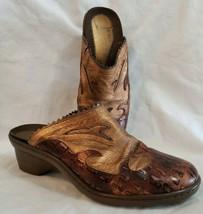 Helle Womens Leather Clogs Euro Sz 40 Western Brown Croc Embossed Spain Comfort - $22.75