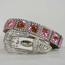 XS S M L XL WHITE PINK SQUARE CONCHO BUCKLE WESTERN COWBOY GIRL BELT Val... - $77.49