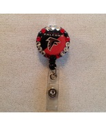 Nfl Atlanta Falcons Badge Reel Id Holder Swarovski red black alligator c... - $9.95
