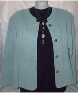 Shirt Jacket Suede Leather Turquoise Small Misses - $12.50