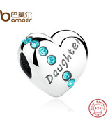 New Blue Crystals 925 Sterling Silver Daughter Heart Charms Fit  Bracel... - $18.88