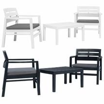 vidaXL 3 Piece Garden Lounge Set Plastic Outdoor Balcony Set White/Anthr... - $189.99