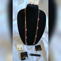 Fashion Jewelry Gold Pink Silver Tones Multi Necklace Earrings Ring Set ... - $35.06