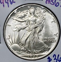1942 Walking Liberty Half Dollar 90% Silver Coin Lot# E 157