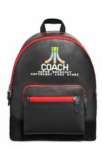 Limited Edition Coach West Atari Motif Pebble Leather Black Backpack - $250.00