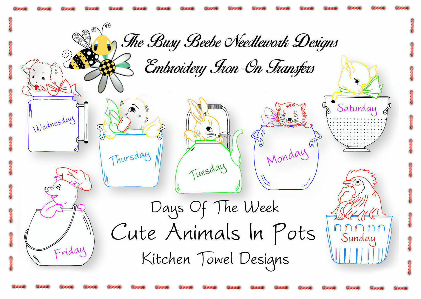 Cute Animals In Assorted Pots Embroidery Transfer Kitchen Towel Days Of The Week - $9.89