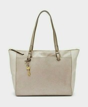 New Fossil Women's Rachel Top Zip Leather Tote Champagne - $143.54