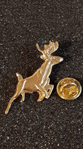 gold running reindeer stag with clip on rear Pin ,Badge / tie pin