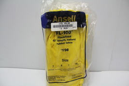 ANSELL 87-198 Latex Chemical Resistant Gloves Size 10 Yellow 12 Pair 1RL... - $12.86