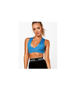 Boohoo Eve Fit Plunge Sports Bra Blue Size US 10 NWT - $12.86