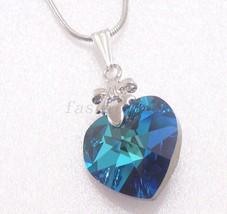 Plaqué Or blanc grand bleu cristal mauve 18mm BRELOQUE CŒUR COLLIER CADEAU - $23.64