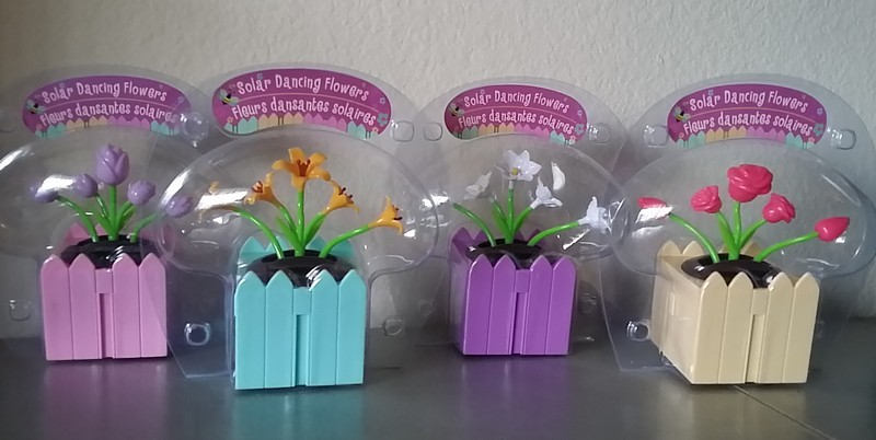 SET of 4 Spring DANCING FLOWERS SOLAR powered dashboard bobble boxes NIB