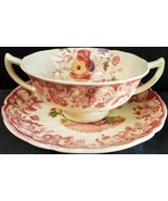 Royal Doulton POMEROY red Cream Soup & Saucer (multiple available) - $32.71