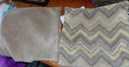 Pair of Gold Beige Flamestitch Print Throw Pillows  18 x 18 - $49.95