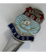Spoon Largs Scotland Souvenir Enamel Finial Chrome 1960s Vintage - $12.00