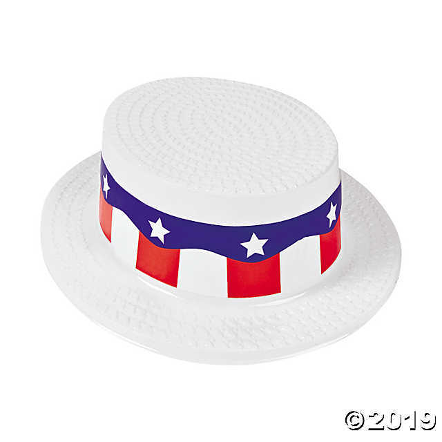 Adult's White Skimmer Hats with Patriotic Band - $12.49