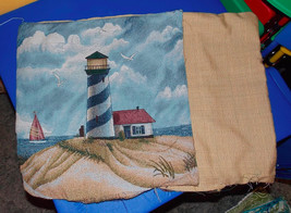 Pair of Beige Blue Lighthouse Print Decorative Print Throw Pillows  16 x 16 - $49.95