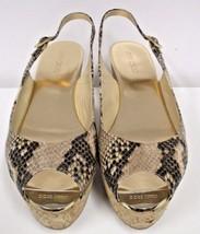"JIMMY CHOO  ""Praise"" Animal Print Leather Slingback Cork Wedge Sandal - ... - $175.00"