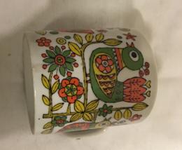 Vintage Mid Century Brightly Colored Birds Flowers Retro Coffee Mug - $8.00