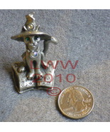 Pewter Cat in Witch hat on Spell Book Figure- Figurine  - $9.90