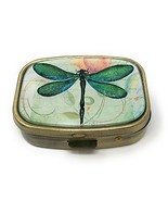 Value Arts Green Dragonfly Pill Box, Brass and Glass, 2.25 Inches Long - $15.17