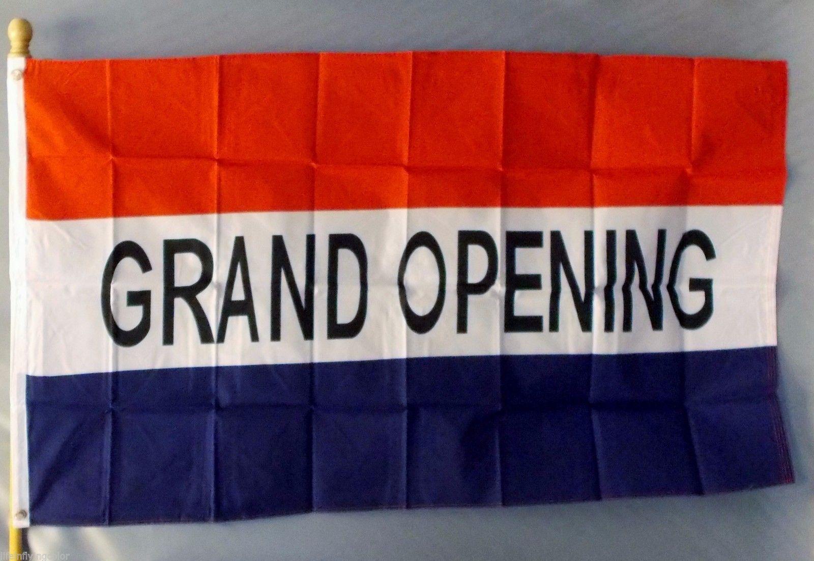 "GRAND OPENING 3X5' FLAG NEW 3'X5' BIG SIGN 36X60"" 3 X 5"