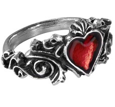 Betrothal Romantic Ring Red Heart Ornate Scrolled Pewter Alchemy Gothic R134 - $25.00