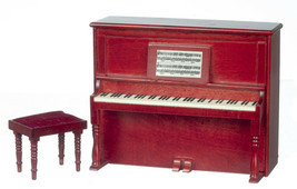 Dollhouse Miniature - NON-MUSICAL MAHOGANY PIANO WITH BENCH - 1:12 Scale - $29.99
