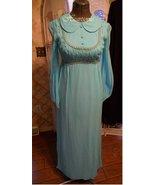 Vintage 60s 70s dress Empire Regency Chiffon silk blue silver gown maxi ... - $65.00