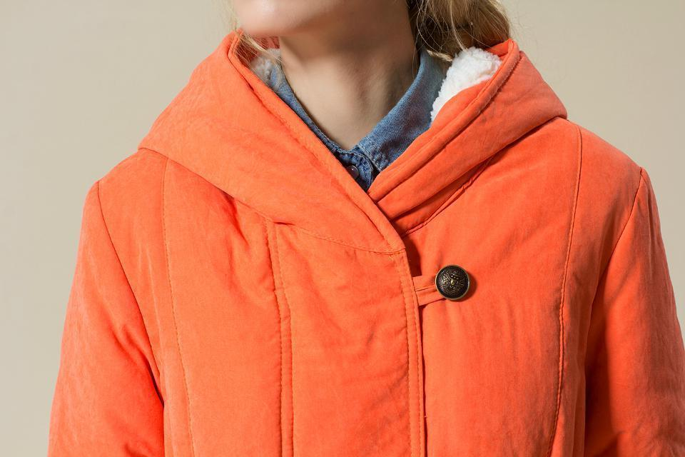 Plus Size Women Hooded Warm Cotton Coat Winter Loose Thick Winter Jacket -Orange