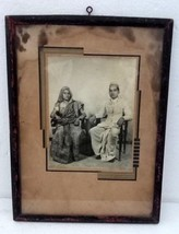 Vintage India New Married Couple Black and White Photo With  Wooden Frame - $84.15