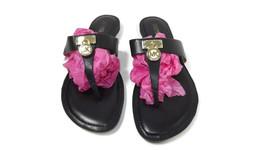 Michael KORS womens BLACK Leather Hamilton Sandals Shoes Size 7.5 Metal Logo  - $30.40
