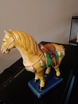 "Old Chinese Tang Style 3 Color Porcelain Pottery Horse Statue 6.5""  1981  Chang- image 3"
