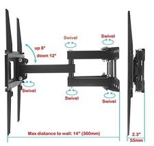 TV Wall Mount Bracket with Full Motion Articulating Dual Arm Swivel Tilt fit 23  image 3