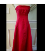Long Women's Red Dress Size S Strapless Halloween Costume Handmade - $19.79