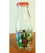 Vintage Cow-lectable Milk Bottle Sherwood Brands Inc Glass Christmas Theme - $17.82