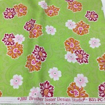 """Floral Print Fabric Brothers Sisters 2010 Design Studio B31PCP16 FLRS 1.5 Yd 45"""" - $9.50"""