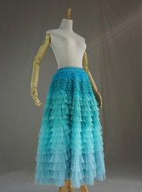 PASTEL GREEN Long Tulle Skirt Blue Green Tiered Tulle Skirt Party Skirts image 2