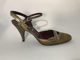 Prada Burnished Gold Retro Slingback Heels 38.5 - $106.43