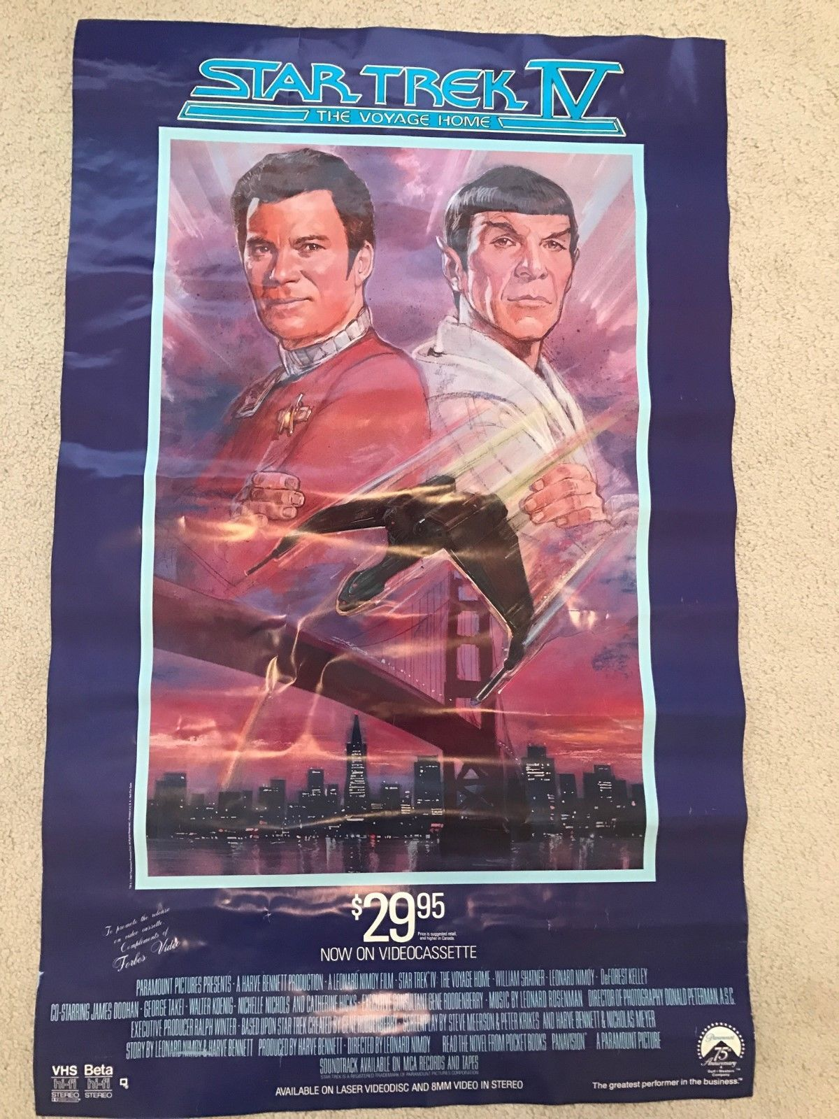 "Primary image for Vintage Star Trek IV The Voyage Home 37"" x 23""  Movie Poster - Original - 1980's"