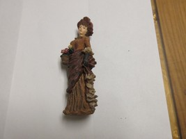 Porcelaine ,Figurine ,Antique ,Vintage ,Lady In Brown,Basket/Flowers , 6... - $34.65