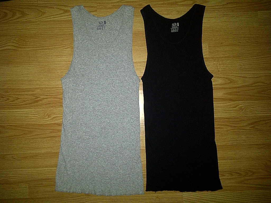2 Fruit of the Loom Gray Black Tagless Ribbed Tank A-Shirts Wifebeater XL 46-48