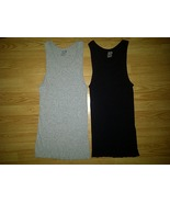 2 Fruit of the Loom Gray Black Tagless Ribbed Tank A-Shirts Wifebeater ... - $9.99