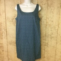 NEW Joe Fresh Shift Dress Womens Size Medium Navy Green Diamond Check Sl... - $11.87