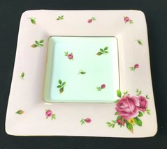ROYAL ALBERT NEW COUNTRY ROSES VINTAGE PINK CANDY TRINKET TRAY SQUARE PLATE - $26.99