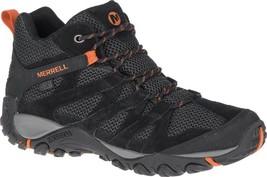 Merrell Alverstone Mid Waterproof Hiker Boot (Men's) in Black Suede/Mesh... - $122.81