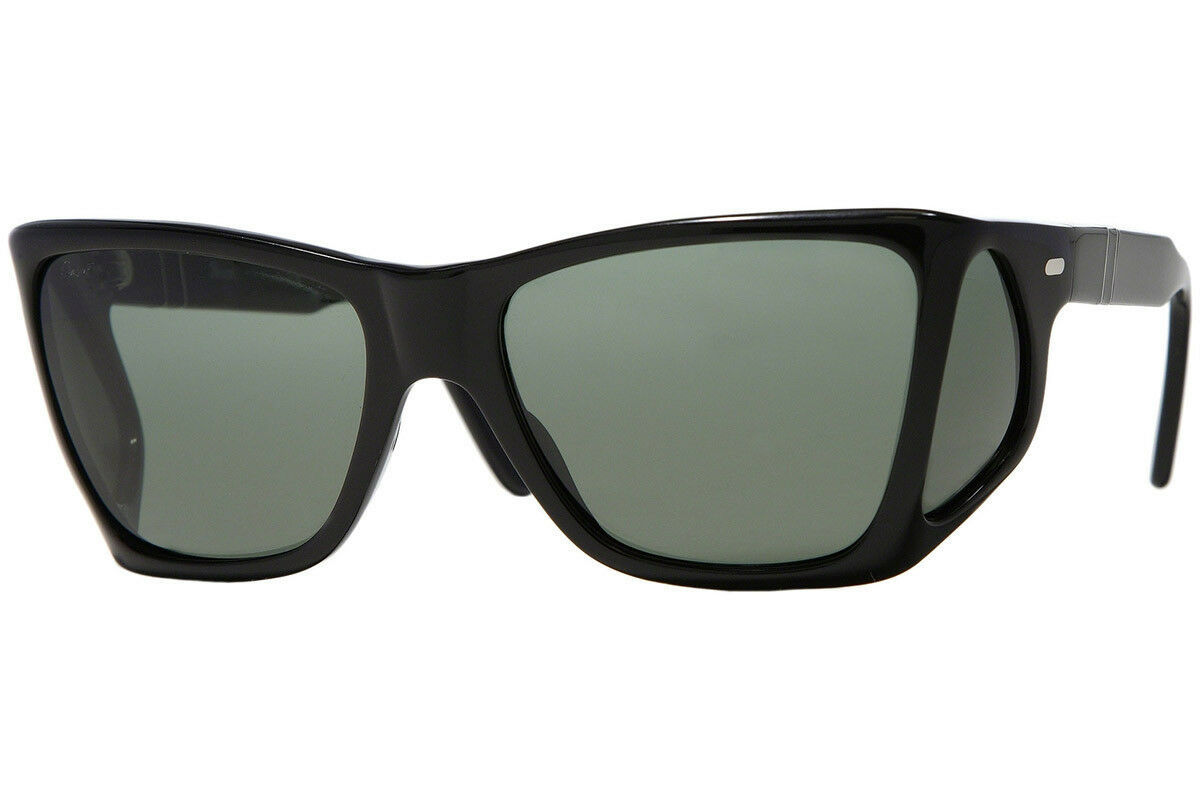 b3ca495ee93114 Persol PO0009 95 31 Black Frame Green Lens Sunglasses Authentic 57mm -   231.83