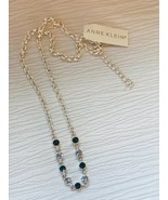 Estate Anne Klein Silvertone Rolo Chain with Rounds Light and Dark Blue ... - $14.89
