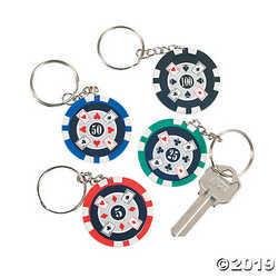 12 Poker Chip key Chains