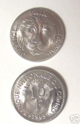 LION HEAD FIRST COIN OF CONGO 10 FRANC 1965 UNC